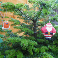 Handmade Carved Wooden Christmas Tree Decorations 'The Snowman Santa' and Robin