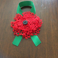 Red poppy inspired flower brooch