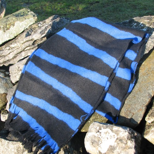 Long Lambswool Scarf - Blue