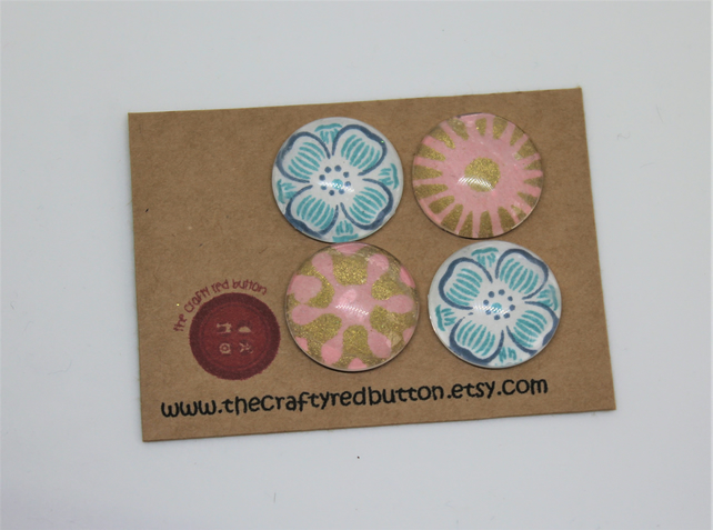 Blue and pink glass fridge magnets - Lovely mothers day gift