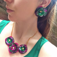 Flower Jewellery Set, Acrylic Jewellery, Upcycled Jewellery by ENNA
