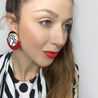 Red Circle Earrings, Acrylic Statement Half Circle Clip-on Earrings by ENNA