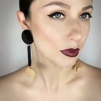 Dangle Moon Crescent Earrings, Long Black and Gold Clip-on Earrings by ENNA