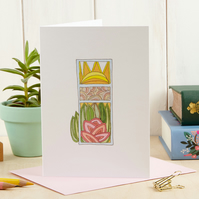 Floral Greeting Card, Blank Inside