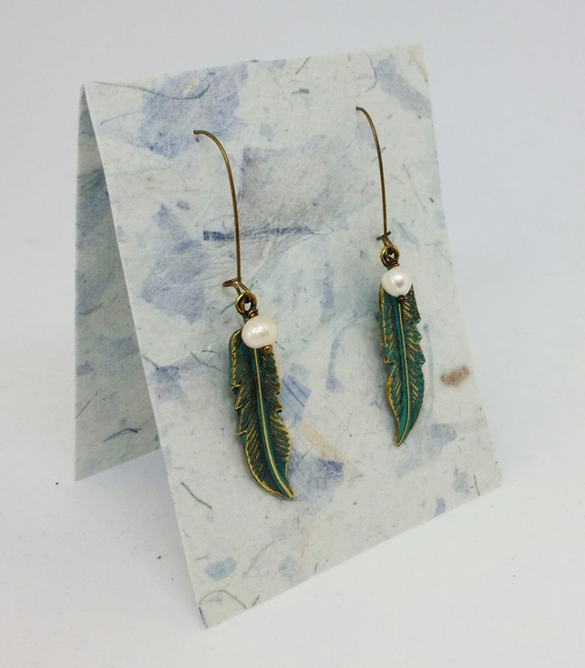 Patina Feather and Freshwater Pearl Earrings