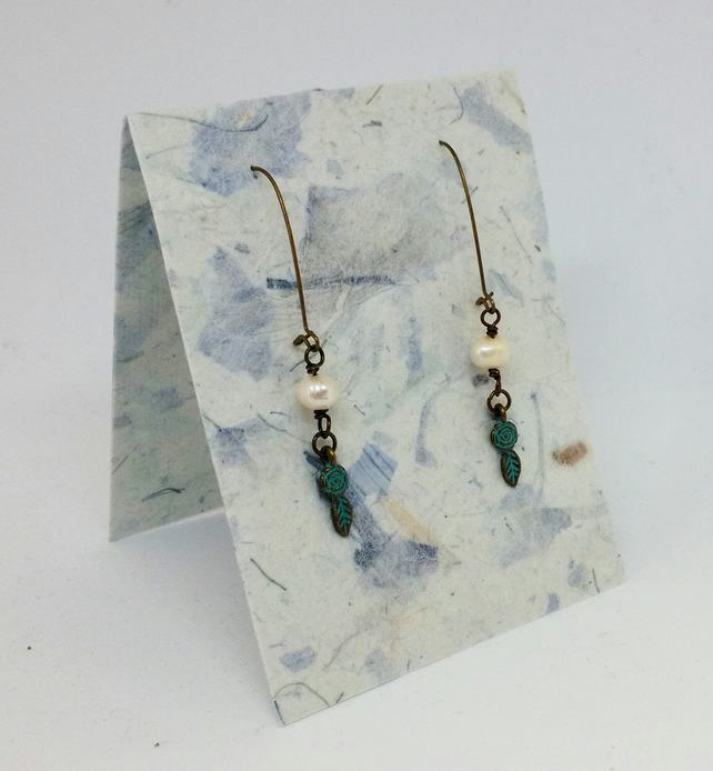 Small Rose Leaf Patina Brass Metal & Freshwater Pearl Earrings