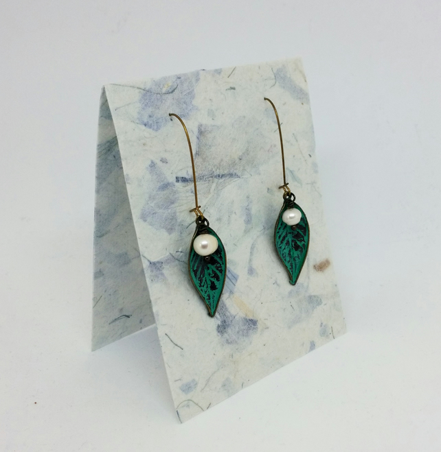 Patina Brass Metal & Freshwater Pearl Leaf Earrings
