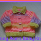 Hand knitted baby girls pretty summer mix cardigan age 0-3 months
