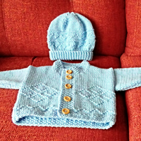 Aran Baby Cardigan With Matching Hat