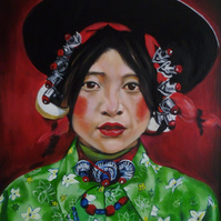 "Original framed oil on board , colourful Tibetan girl with hat , 21"" x 17"""