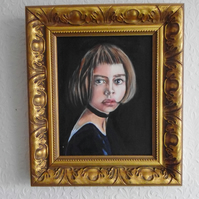 Original oil on board painting of a young girl in ornate gilt frame