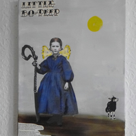 """ Little Bo Peep "" collage and paint on canvas , 30cm x 40cm"