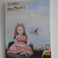 """ Little Miss Muffet  "" collage and paint on canvas , 30cm x 40cm"