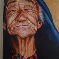 Original oil on canvas of Ada , smiling old lady , 50 x 40 cm