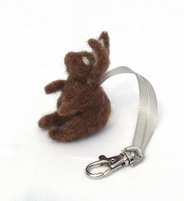 Felt rabbit bag charm keyring rucksack tag brown bunny