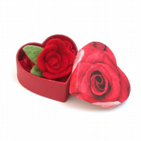 Red Rose brooch in heart shaped gift box. Felt flower jewellery