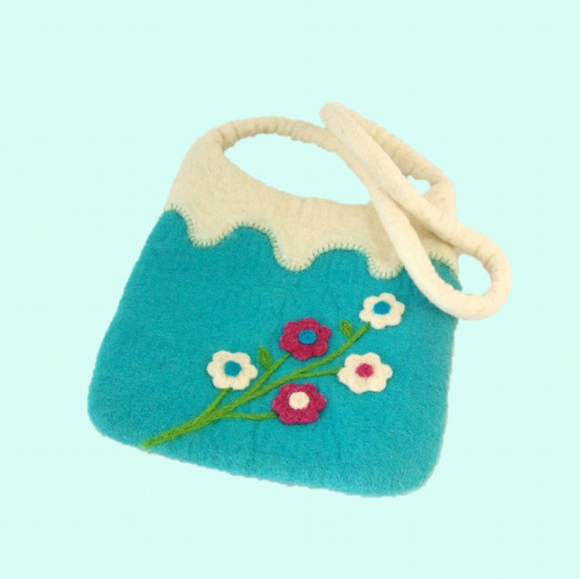 Felt flower shoulderbag pretty handbag spring summer fashion gift turquoise blue