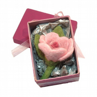 Pink rose felt brooch in gift-box. Handmade flower jewellery Gift for Mum