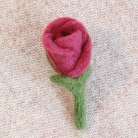 Pink rosebud brooch felt flower needlefelt jewellery gifts for women