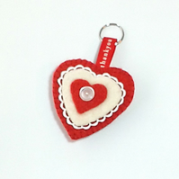 Felt keyring red heart thank you gift