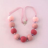 Pink felt bead necklace in rose gift box Gift for Mum
