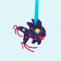 Funky felt fish bag charm bright purple needle-felted ornament