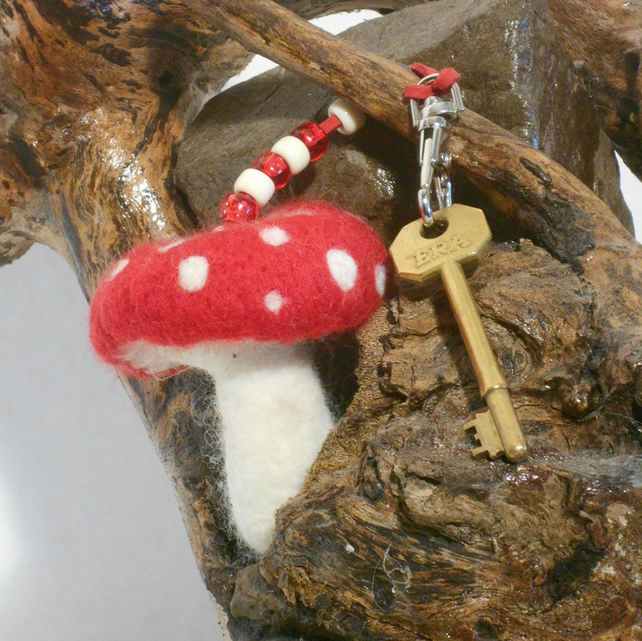 Felt toadstool bag charm red and white fairy mushroom