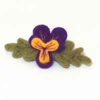 Felt pansy hair decoration barrette slide gift for Mum. Felt flower accessories