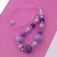 Felt necklace purple mauve lilac beads in decoupage gift box