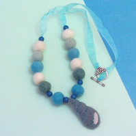 Felt necklace blue and white sea shell beads in gift box