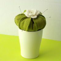 Cactus pincushion felt pin cushion in white ceramic pot