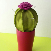 Cactus pincushion pink flower felt pin cushion in pink ceramic pot