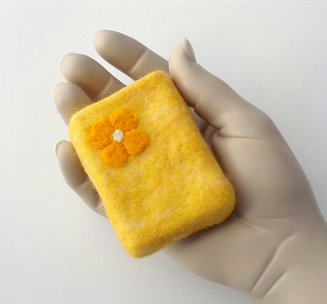 Felted soap Evening Primrose 110g felt wrapped luxury soap bar