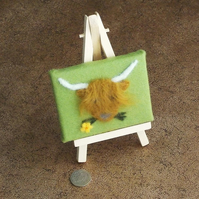 Highland cow miniture felt picture textile artwork