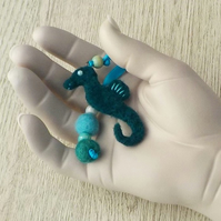 Felt seahorse bag charm blue green needle-felted ornament