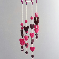 Felt hearts spiral mobile pink purple hanging decoration