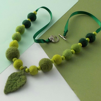 Felt necklace green leaf pendant and beads gift for Mum Mother's Day