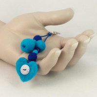 Heart bag charm blue felt rucksack tag needle-felted ornament