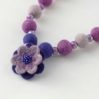 Purple felt necklace needlefelt flower and beads. Gift for Mum