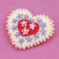 Heart brooch felt with beads and embroidery handmade jewellery