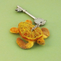 Felt sea turtle keyring needle-felted ornament gift for Dad
