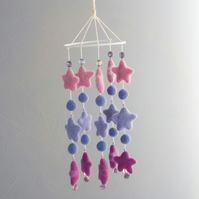 Felt mobile circle of stars pink lilac purple nursery decor baby gift