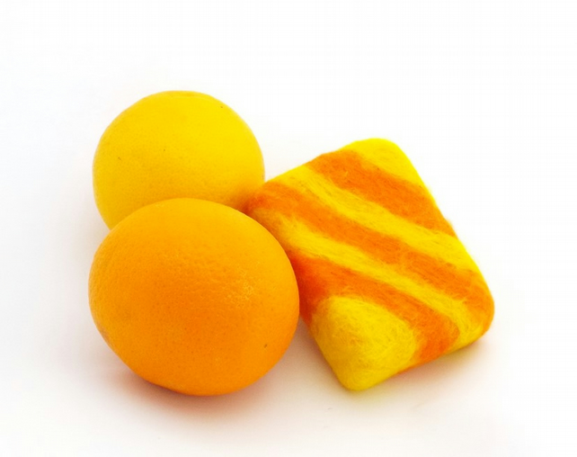 Felted soap St Clements orange and lemon 28g guest soap felt wrapped luxury bar