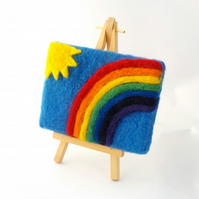 Rainbow blue sky sun felt picture textile artwork hope