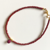'Little Drop of Joy' bracelet - Burgundy and Gold