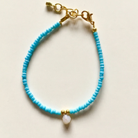 'Little Drop of Joy' bracelet - Turquoise and White