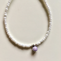 'Little Drop of Joy' bracelet - Lilac and White