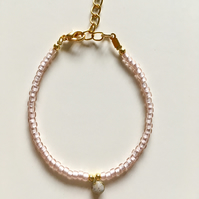 'Little Drop of Joy' bracelet - Pearly Pink & Granite