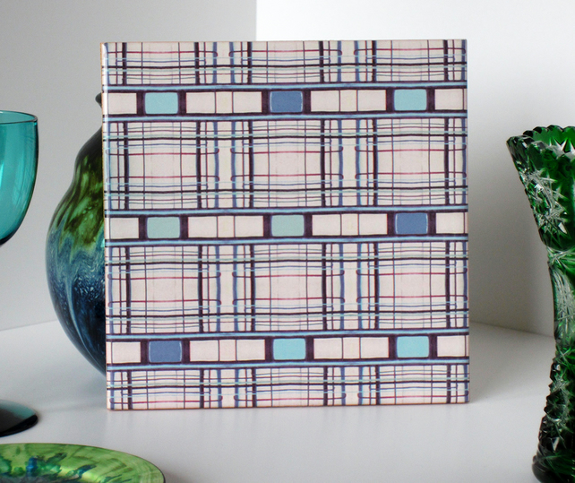 Stripe Pattern Ceramic Tile Trivet with Blue Tones Cork Backing