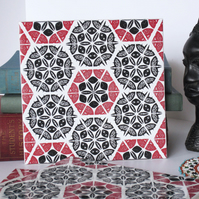 Red and Black Patchwork Pattern Ceramic Tile Trivet with Cork Backing